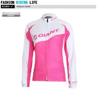 Wholesale Original GIANT Women Fleece Thick Long Sleeve bicycle Cycling wear Jersey Pink Jacket Winter Thermal Sports Mountain Bicycle Coat Tops