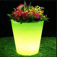 Wholesale 2015 Round PE Plastic Colors Change LED Vase led flower plant led illuminated furniture for home decoration