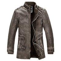 pelle pelle jackets - Fall Chaqueta De Cuero Hombre Winter Fleece Brown Leather Jacket Men Erkek Kaban Jackets Giacca Di Pelle Uomo Mens Fur Coat