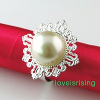 Wholesale Free DHL shipping High Quality Ivory Pearl Vintage Style Napkin Rings Wedding Bridal Shower Napkin holder New Arrivals