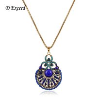 beads plastic beads - 2015 Vintage Summer Style Long Chain Necklace Zinc Alloy Anti Gold Blue Plastic Beads Necklace Pendants for Ladies NL158751
