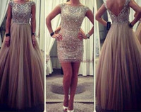 amazing cocktail dress - Charming Amazing Crystal Bead Sequins Two Pieces Evening Dresses With Detachable Train Long Prom Dress Sheath Short Cocktail Gowns Exquisite