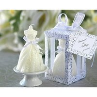 boxes for wedding dress - Home Party GIft Elegant Wedding Dress Candle Boxed Whit Tag Romantic For Wedding Birthday Bridal Shower Party Favors Gifts