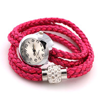 ally - Hot Sale Colorful Leather Rope Bracelet Watch Crystal Beads Women s Dress Watch Ally Case Analog Dropship
