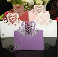 Wholesale 50Pieces Love Heart Laser Cut Table Name Place Cards for Wedding Party Favor Decoration XWK