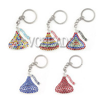 Wholesale 2015 Fashion Custom Valentine Keychain Kisses Chocolate Design Rhinestone Alloy Charms Key Holder