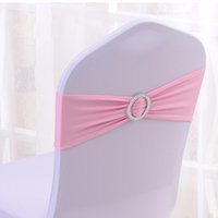 Wedding Chair / Bouquet Chair 100% Polyester yes Free Shipping 100PCS Wholesale-Hot Sale Light Pink Spandex Bands Lycra Band Chair Covers Sash With Round Buckle Wedding Banquet CB-LPI100