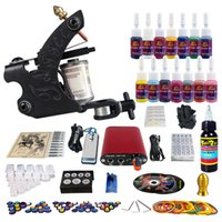 Other Material Machine complete tattoo kits - Complete Tattoo Kit Pro Machine Guns Inks Power Supply Needle Grips ink cups and tips TK101