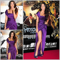 Cheap Sexy Purple Evening Dresses Square Neck Floor Length Split Side Megan Fox Celebrity Dresses Dhyz
