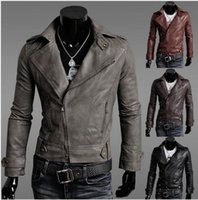 Wholesale 2015 new fashion men Slim leather motorcycle jacket men s clothing Menswear leather clothes Men coat Outerwear