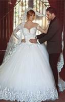 beach sayings - Said Mhamad Romantic Long Sleeve White Beaded Lace Wedding Dresses Vestido de Noiva Luxury Wedding Dress for Brides