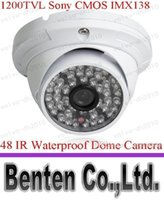 Cheap llfa440 Free Shipping HD CCTV 1200TVL Sony CMOS IMX138 Sensor 48 IR Outdoor Security Dome Camera With IR-Cut OSD Control