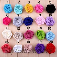 Wholesale Trial Order Ribbon Rose Flower Artificial Rose Flower Fabric Flower Hair Accessories Hair Flower For Baby Christmas Headband Hairpins