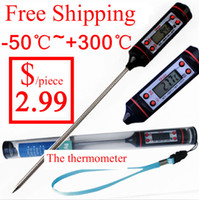 Wholesale 1pc Meat Thermometer Kitchen Digital Cooking Food Thermometer Probe Electronic BBQ Cooking Tools Coffee tea milk steak