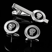 Wholesale Punisher Silver tone Enamel Cuff Link and Tie Clip Sets For Shirt Best gift Fashion Jewelry W384