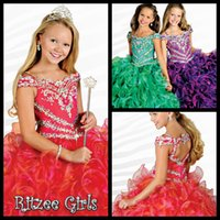activity beads - Crystals Little Girls Pageant Dresses Ball Gown Full Length Religious Activities Dresses Ruffles Organza Cupcake Pageant Dresses Girls