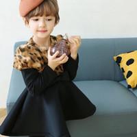al por mayor vestidos de las muchachas de los niños de la manera leopardo-Los nuevos niños del mini vestido del Bowknot del leopardo de la manera de la princesa Dress Girl de los niños del invierno del otoño visten el coreano 5 PC / porción G18C1B