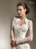 apricot coats - Bridal Wraps Jackets Lace Applique Long Sleeves Bolero Jacket Shawl Coats Bridal Accessories Wedding Events high quality cheap new