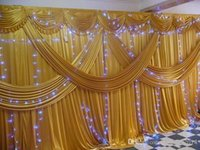 Wholesale A set x6m Luxury Wedding backdrop with multiple gold drape wedding curtain with swag party decoration