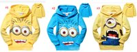 Unisex Spring / Autumn Hooded DHL Free Ship 3 Colors Children Yellow Man Despicable Me Cotton Long Sleeve Sweatshirt Kids Hooded Tops Tees Children Leisure Clothing