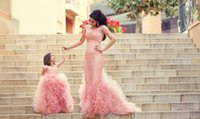 christmas flower pick - 2015 Hot Sale Sheer neckline Lace Family Dress Alikes mother and daughter childrens formal occasion dresses tulles christmas dresses BO5245