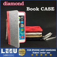 Cheap For Apple iPhone diamond Book Case Best Leather Black leather case