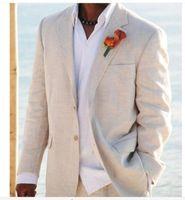 beach linen suit - handsome Simple Linen Suits Men Wedding Tuxedos for Men Grooms Tuxedos Mens Suits Slim Fit Beach Groomsmen Suits Jacket Pant