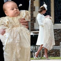 Wholesale Baby Christening Gowns Princess Charlotte Traditional Jewel Neckline Puffy Skirt Short Sleeves Full Length Champagne Lace Baptism Gown