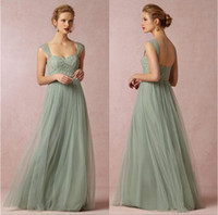 Wholesale Sage Green Princess Hot Sale Sweetheart Neckline Cap Sleeves Long Bridesmaid Dresses Tulle with Lace Floor Length A line Zipper Prom Dress