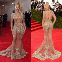 beyonce white - 2015 Sheer Beaded Evening Dress Beyonce Met Ball Red Carpet Dress Nude Naked Celebrity Dress See Through Formal Dress Sweep Train Backless