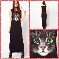 big lady clothing - Scoop Neck Column Green Eyes Big Cat Printed Casual Dresses For Women Long Ankle Length Ladies Clothing Cheap Spring Online Summer