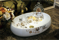 Wholesale Bathroom Superior Ceramic Counter Top Sink Oval Wash Basin Porcelain Hand Painted Cloakroom Art Vessel Sinks jy fx003