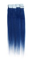 Wholesale 40pcs quot Blue g Straight Human Hair Tape Hair Remy Human Hair Reuse Long Time H6230A18