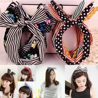 Wholesale Fashion Hair Cares Cute Bunny Ear Elastic Hair Ties Ropes Camellias Sports Decorated Rubber Bands Colorful Headwears FS002