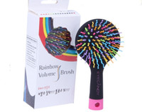 Wholesale Rainbow Combs Volume Brush Hair Combs Airbag Anti Static Shun Tangle Hairdressing Mirror in Box