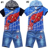 Wholesale Cartoon Spider man Hoodies Suits Boy Kids Clothes Hoodie Pant Summer Outfit Short Sleeve Tracksuits Casual Set Y Factory Price DHL Free
