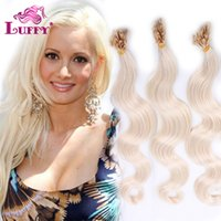 Wholesale Hair Extensions U Tip Brazilian Human Hair Extensions s Body Wave Light Blonde g s Pre tiped Hair for White Women