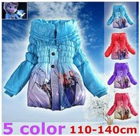 Wholesale 1PCS KIDS Frozen coats girls princess winter warm Coat For Girls cotton padded jacket girls outerwear Children clothes color