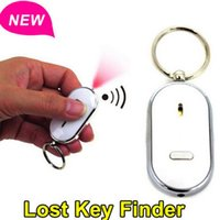 Wholesale New Whistle Sound Control LED Key Finder Locator Find Lost Keys Keychain Anti Lost Chain Torch Ring