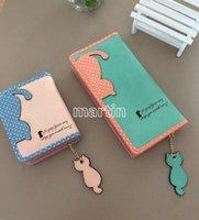 Wholesale New arrival cute carton cat women wallet short and long pattern women purse women card holder zipper design brand coin purse