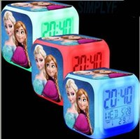 Wholesale 18 OFF hot sale Frozen Digital Desk Table Alarm Clock Elsa Anna Olaf Alarms Change Night Light Colorful Glowing Clocks LED table clock