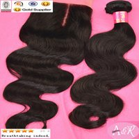 Cheap Free Shipping Good Quality Brazilian Hair Weft With Closure Color 1b 3 Bundles Body Wave Hair Weft With Closure