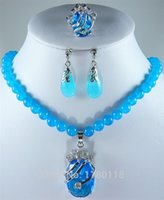 blue jade earrings - Very beautiful blue jade zircon pendant necklace and earrings rings jewelry Set n Women Holiday gifts