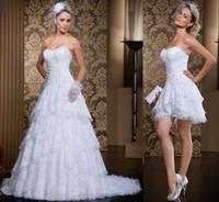 beaded gold wave - 2016 Stunning quot overskirt quot Wedding Dresses Sweetheart Sleeveless White Tiered Lace Detachable Skirt Wedding Dress Beaded Luxury Wedding Gowns