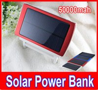 Wholesale 50000mah Solar power bank Charger Battery mAh Solar Panel Dual Charging Ports portable power bank for All Cell Phone table PC MP3