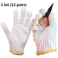 Wholesale Thickening Pure White Protective Cotton Yarn Labor Safety Gloves Pairs