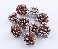 Wholesale Natural Pine Cone Christmas Mini Tree Decorations Christmas Ornaments Set of Nature Pine cones Dyed White Paint Hanging Home Party Decors