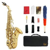 bb pearl case - LADE Brass Bb Soprano Saxophone Sax Golden Carve Pattern Pearl White Buttons with Case Gloves Cleaning Cloth Grease Belt