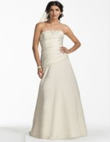 aline wedding dress - Custum Made NEW Strapless Satin Aline Gown with Ruched Bodice Style OP1255 Wedding Dresses Backless Bride Clothing