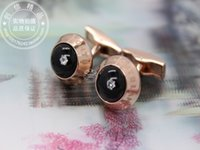 Wholesale Classic fashion LOGO Rose Gold Diamond crystal Cufflinks Cuff Links